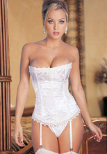 Free pp instyles bridal wedding Overbust Corsets Lingerie Bustiers White Satin Embroidered Corset