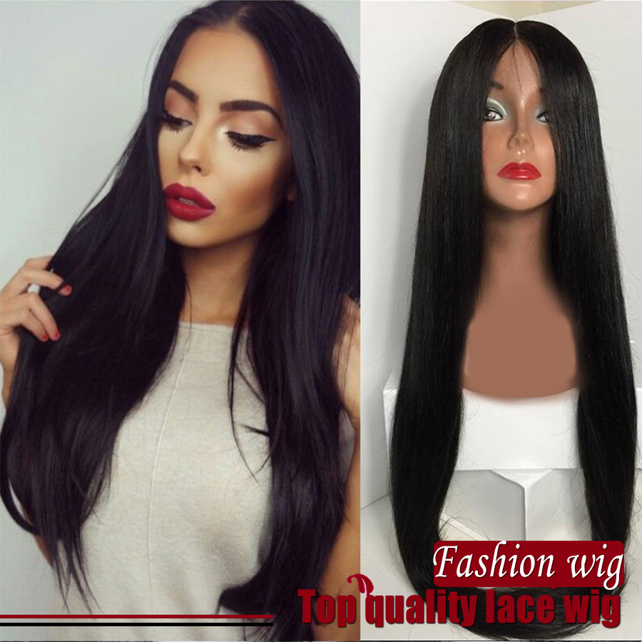 Wholesale Heat Resistant 1B Black Bone Glueless Natural Straight Hand Tied Sexy Fiber Synthetic Lace Front Wig For Black Women<br><br>Aliexpress