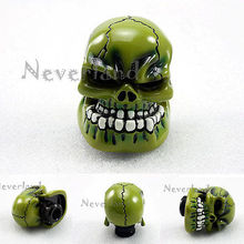 New Universal Manual Transmission Car Gear Stick Shifter Knob Lever Cover Resin Skull Green Head Free shipping D05(China)
