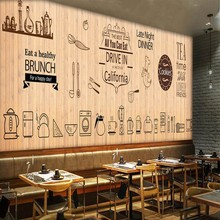 3D photo wallpaper Europe the United States fashion board food mural restaurant bar coffee shop wall wallpaper mural(China)