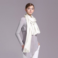 100% Silk Satin Long Scarf 55X180cm Pure Mulberry Silk Plain Color Silk Scarf Factory Direct Online Store 26 Natural White Color(China)