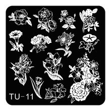 Square Small Manicure Template Nail Art Stamping Plate Nail Stamp Gorgeous Flower Glory Design DIY Image Plate TU-011