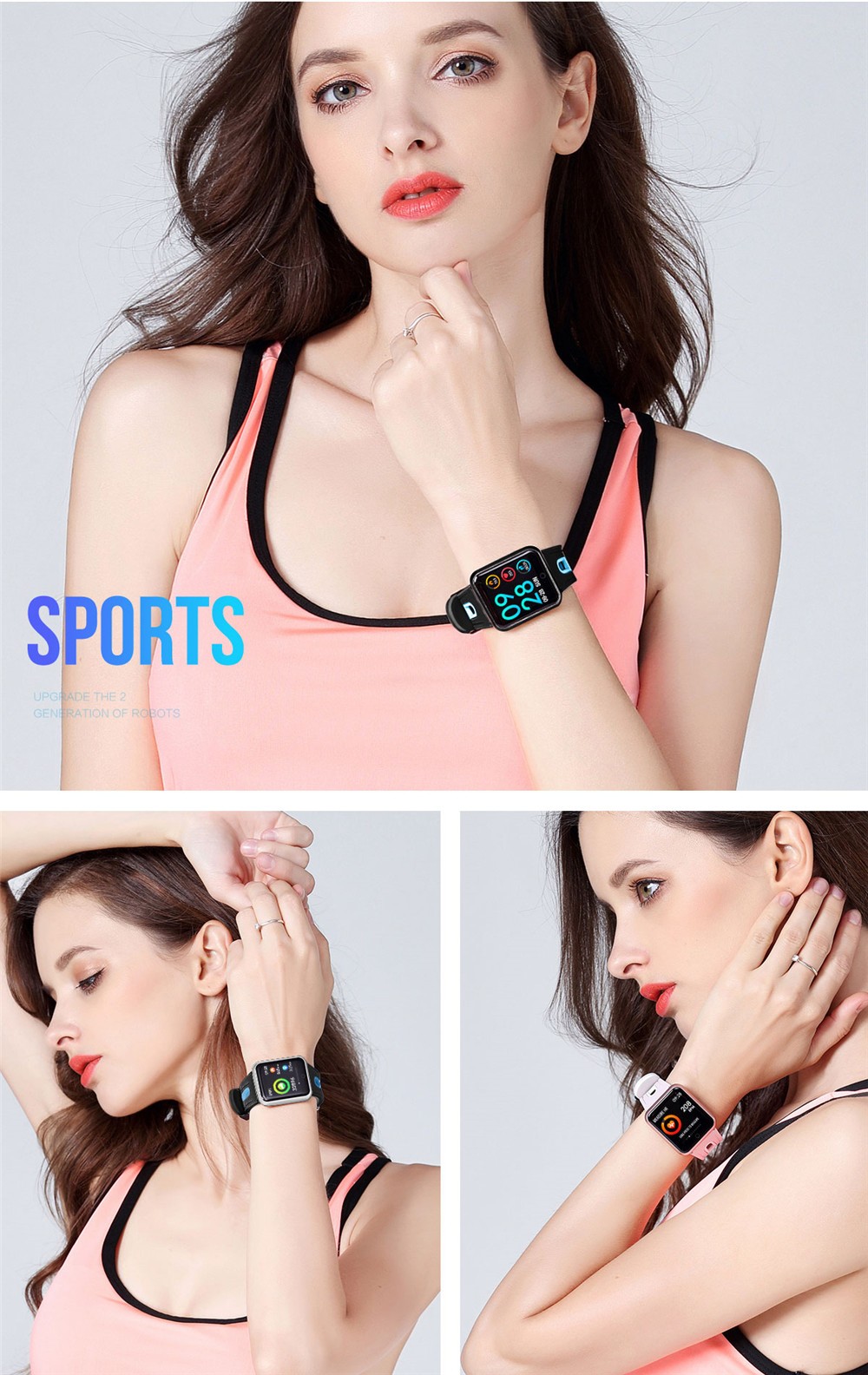 Greentiger P68 Smart Bracelet Multi-sport wristband IP68 Waterproof Activity Fitness Tracker heart rate Smart Watch Men Women 7