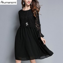 Buy Autumn Winter Lace Patchwork Dress Flare Full Sleeve A-line Eyelash Lace Hollow Black Women Clothes Spring Dress Plus Size for $33.53 in AliExpress store