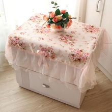 Pastoral Cloth Dust Cover Bedside Cabinet Sets Rectangular Table Dustproof Cover Wedding Lace Tablecloth Pink Flower Decoration(China)