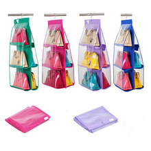 6 Pocket PVC Storage Bag Wardrobe Closet Organizer Hanging Bags Clothes Women Handbag Rack Hangers Holder Tote Pouch Organizador