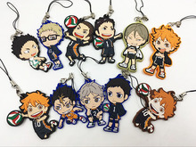 11PCS/LOT haikyuu Silicone mobile phone charms Action Figure Anime cell phone strap charm