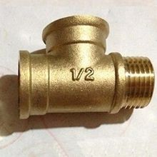 "LOT 2 Tee 3 Way Brass Pipe fitting Connector 1/2"" BSP Female x 1/2"" BSP Female x 1/2"" BSP male Thread for water fuel gas"