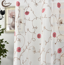 byetee Simple study white tulle curtains livingroom curtains modern embroidered curtain Voile curtain gauze material