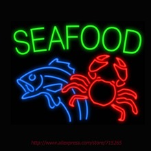 New Neon Sign Seafood Fish Crab Neon Lamp Real Glass Tube Neon Light Handcrafted seafood Store Iconic Sign Arcade neon 31x24