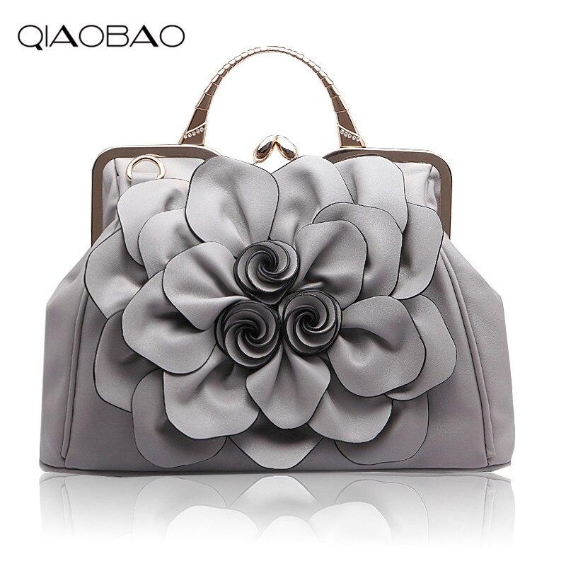 QIAOBAO 2017 Womens handbag rose big flower bag fashionable casual all-match handbag messenger bag<br>
