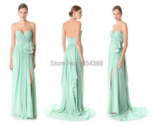 2016 Sexy Design Bridesmaid Dress Chiffon Low-cut Sweetheart Slit Style A Line Long Maid Soiree Party Gowns  Weddings Vestidos