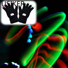 Christmas Halloween LED Flashing Gloves Colorful Finger Light Glove Party Decoration Black Enfeites Para Festa R20