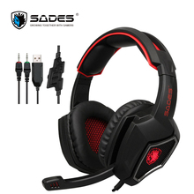 SADES Spirit Wolf 3.5mm Profesional Gaming Headset Game Headphone with LED light and 2m Cable for Computer or Mobile Phone(China)
