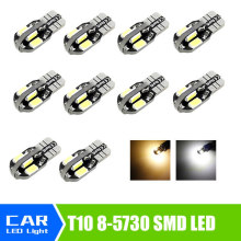 10pcs/lot T10 8 SMD 5730 CAR DOME 194 168 W5W DC 12V CANBUS OBC ERRO FREE XENON WHITE / Warm White Light bulb Wholesale(China)