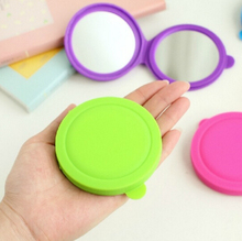 New Makeup Mirror Folding Pocket Mirror Compact Silica Gel Portable Cute Small Hand Mirrors Makeup