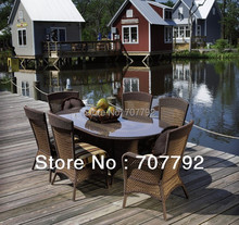 2014 Wicker Antique furniture for the garden 7pcs table and chairs Dining Set(China)