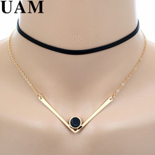 Minimalist Design Short Black Leather Necklace Punk Gold Color V Shaped Faux Stone Pendants Necklaces Women Chokers collare