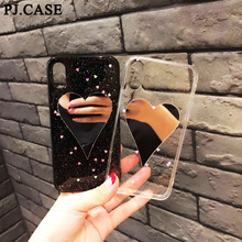 PJ.CASE Fashion Glitter Heart Mirror Case for iPhone 8 Plus X Transparent Soft TPU Cover for iPhone 6 6s plus 7 Plus Capa Coque(China)