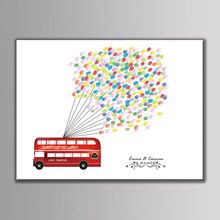 Hot 30*40cm Love Bus Colorful Balloon Guest Book Printings For Kids Birthday DIY Wedding Decorative Canvas Fingerprint Painting