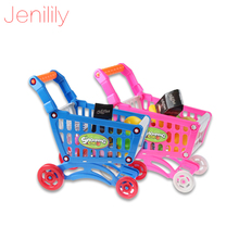 Mini Children Supermarket Plastic Shopping Cart with Full Grocery Food Playset Toy for Kids JN1302(China)
