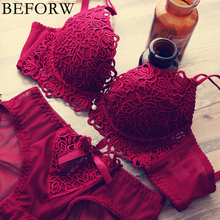 BEFORW Women Sexy Bra Set Floral Embroidery Adjusted Push Up Bra Set Thick Underwear Women Padded Lingerie Bra and Briefs Set