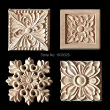 New 1 pcs Flower Wood Carving Natural Wood Appliques for Furniture Cabinet Unpainted Wooden Mouldings Decal Decorative Figurines(China)