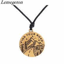 Lemegeton Engraved Message Find Your Road Fahsion Charms Jewelry Making Necklaces & Pendants Christmas Gifts for Friends(China)