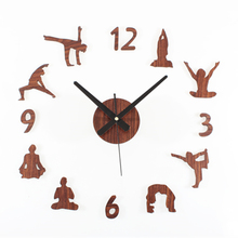 Creative yoga wall clock for living room DIY acrylic quartz wall clock decorative Fashion wall stickers clock for women gift
