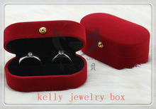 Romantic Velvet Double Rings Jewelry Box Gift Case For Wedding Proposal 20pcs Red Fabric Ring Box Display Packaging Box