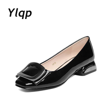 Leather Ballet High Heel Women Shoes Slip On Loafer Casual Female Work Pumps Ladies Designer Brand 35-43 zapatos mujer(China)