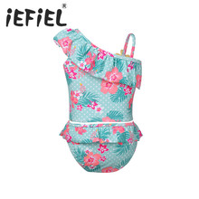 2PCS Kids Girls Floral Printed Tankinis Swimsuit Tops with Bottom Outfits Girls Clothes for Summer Swimming Surfing and Holiday