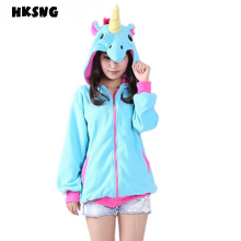 HKSNG 2017 Women Unicorn Hoodies Fashion Cartoon Stitch Sweatshirts Tracksuits Animal Pikachu hoodies Girls Winter Hooded Jacket(China)