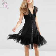 Buy Black V Neck Semi Sheer Panel Ruffle Hem Mesh Dress Summer Short Sleeve Buttons Front Line Casual Women Clothing for $20.99 in AliExpress store