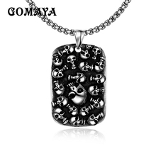 GOMAYA Rock Vintage Punk Mexican Tattoo Stainless Steel Skull Pendants Necklace Charm Men Fashion Jewelry Silver Color(China)
