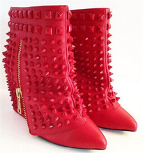 Fashion Shark Shape Wedged Women Boots Pointed Toe Rivets High Heel Ankle Boots Shoes Woman Autumn Winter Rain Boots Botas Mujer