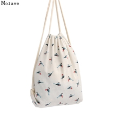 Naivety Women Bag Bird Patten Printing Drawstring Backpack Cute Fabric Shopping Tote 2017 New 20S6095 drop shipping