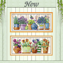 pottings colourful flowers painting counted printed on canvas DMC 11CT 14CT Chinese Cross Stitch kits embroidery needlework Sets