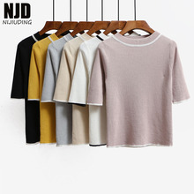 NIJIUDING Women Spring Summer 2017 New O neck Sweaters Half Sleeve Knitted Shirt Fashion Daily Life Knitwear Thin Slim Pullovers