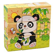 3D Puzzle Wooden Toys Six Sides 9Pcs Wooden Cube Panda Jigsaw Puzzle Wood Cubes Toys for Children Gift(China)