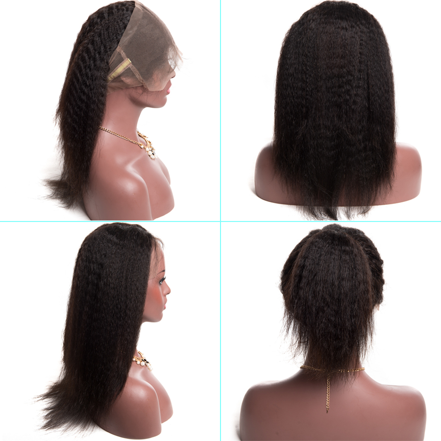 [ALIPOP] Pre Plucked 360 Lace Frontal Closure With Baby Hair Remy Brazilian Kinky Straight Hair Bundles 100% Human Hair Closure (1)