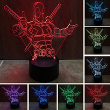 Fashion LED Toys 3D Illusion Lamp Marvel Anti-hero Deadpool Figure Night Light Color Changing Mood Novelty Lamp Holiday Gifts