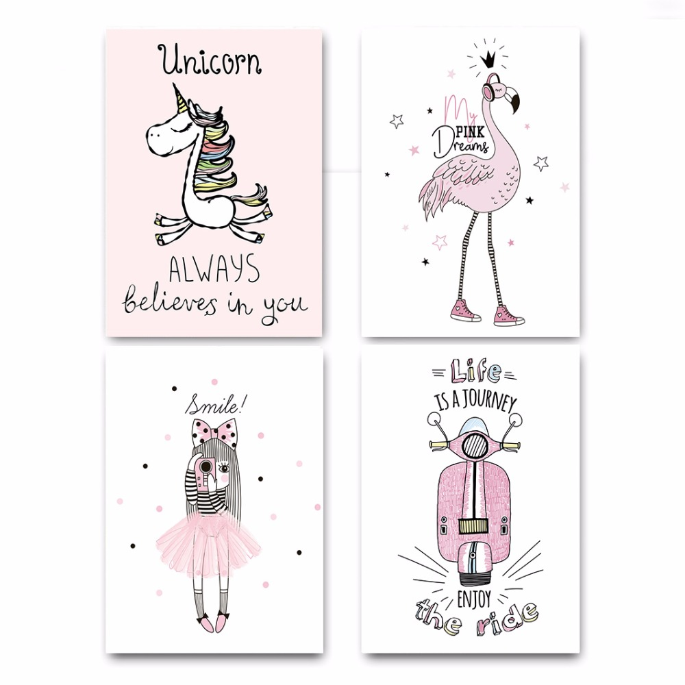 Nordic-Style-Cartoon-Girl-Unicorn-Flamingo-Poster-and-Print-Wall-Art-Canvas-Painting-Nursery-Picture-for (1)