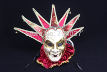 (1 piece/lot)  New red color full-face pulp Venetian Jester mask Jolly masks