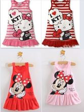 Hot sale New 2017 Kids girls clothes cute cartoon Dress, 2 colors of red and pink nice Clothes, lovely baby girls dress