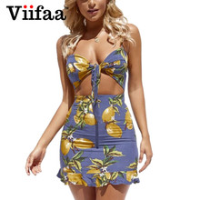 Buy Viifaa Lemon Print Hollow Sexy Dress Summer Women Tie Knot Bodycon Mini Dresses Spaghetti Strap Party Dress for $13.99 in AliExpress store