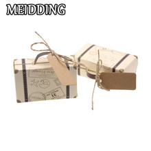 MEIDDING-50pcs/lot Vintage Mini Suitcase Candy Box for wedding favor Baby Shower Gifts Chocolate Box Paper Box For Party Supply(China)