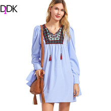 DIDK Blue Striped Embroidered Yoke Tie Sleeve Dress Boho Spring Dresses Long Sleeve V Neck Casual A Line Shirt Dress