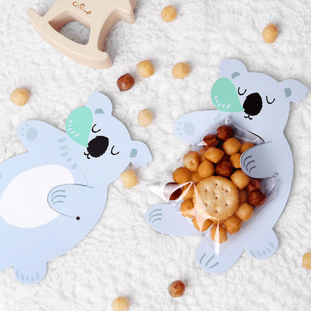 10pcs Lot Cute Animal Bear Rabbit Candy Cookie Bags Gift Greeting Cards Baby Shower Birthday Party Packaging Box