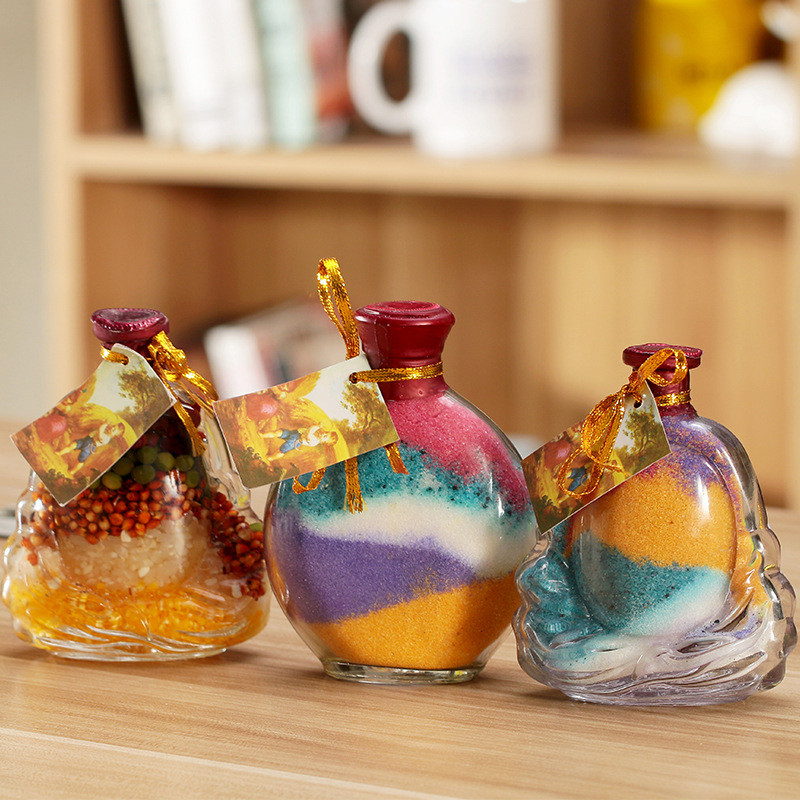 Creative Transparent Glass DIY Wishing Bottles Colorful Sand Wishing Bottle Home Decoration Glass Ornaments Craft(China)
